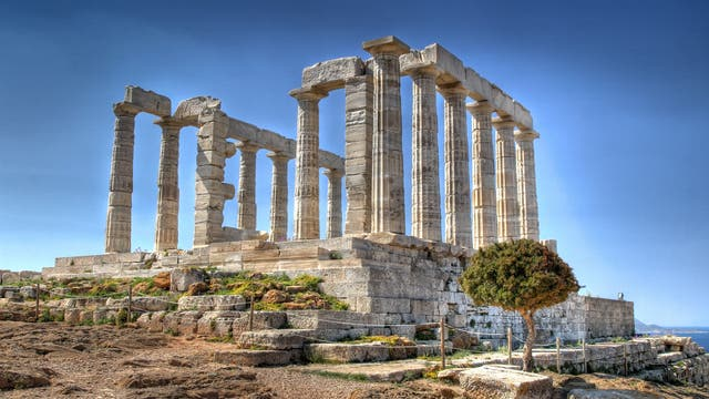 Ruine des antiken Poseidontempels auf dem Kap Sounion
