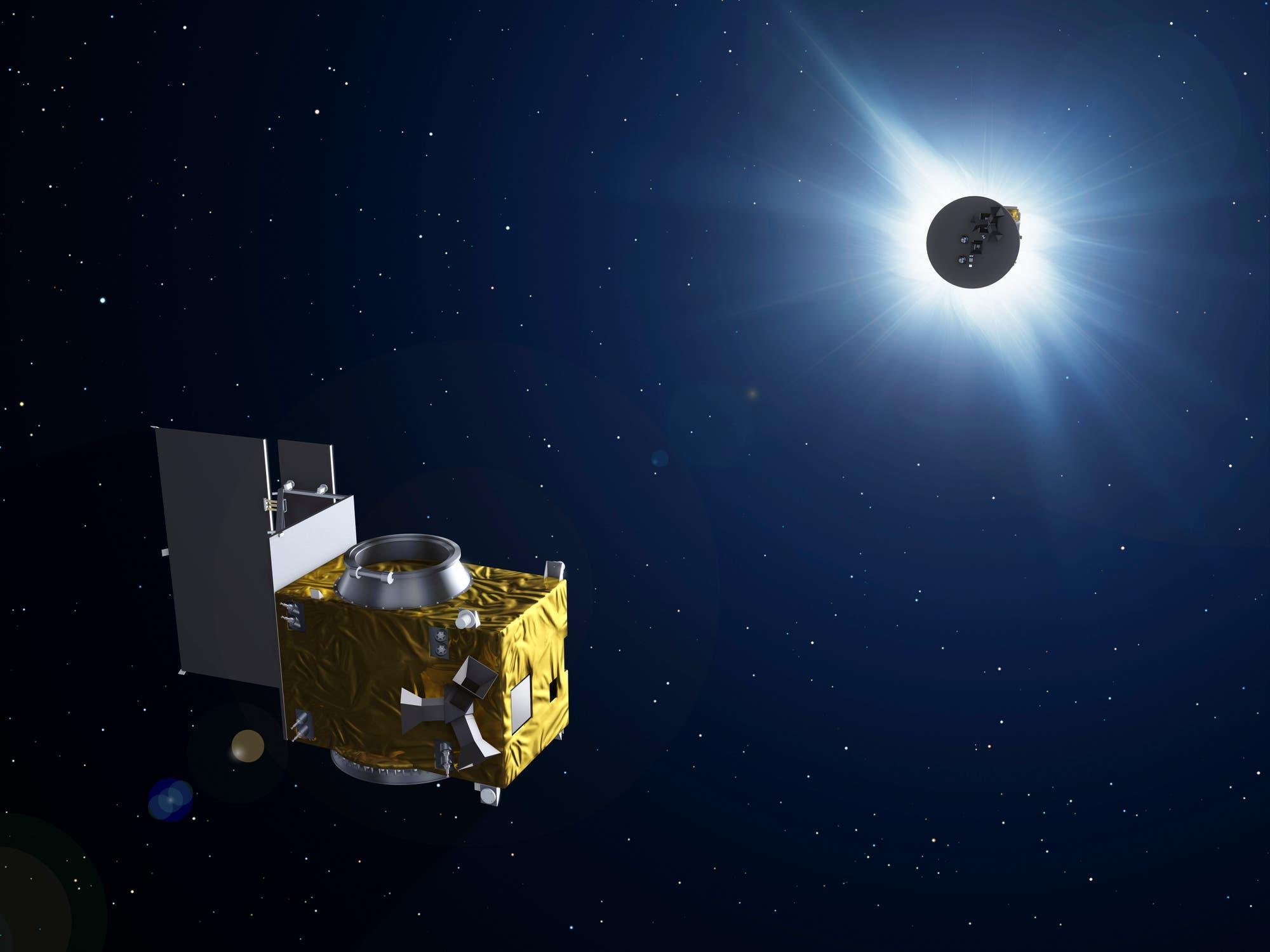 Die Sonnenforschungsmission Proba-3 (künstlerische Darstellung)