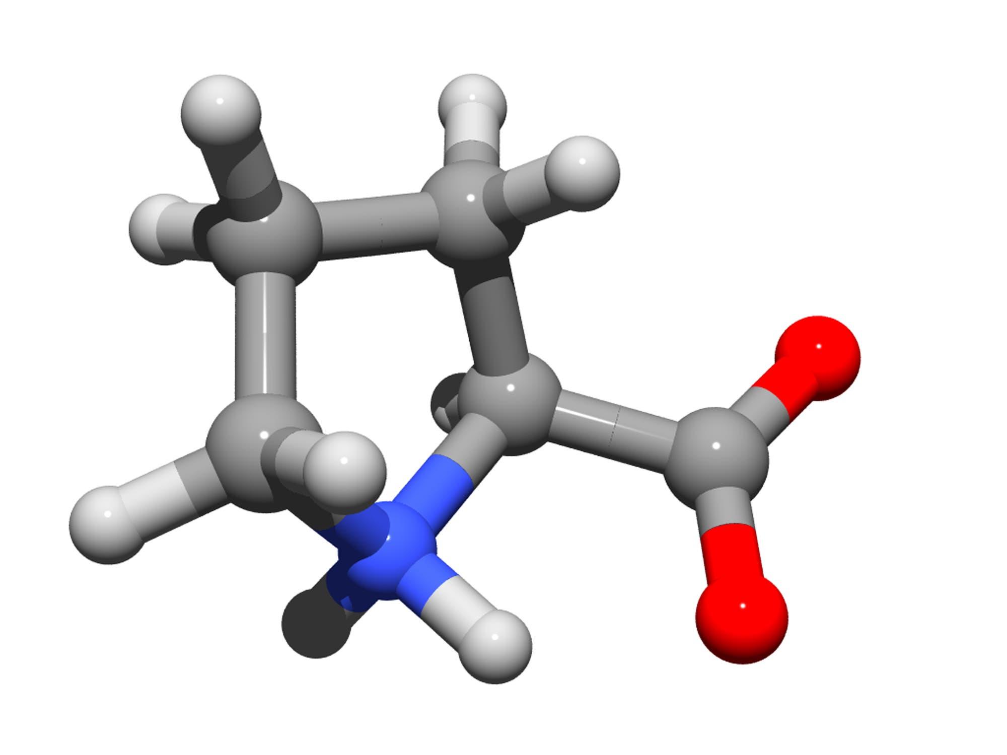 Dreidimensionale Struktur der Aminosäure Prolin