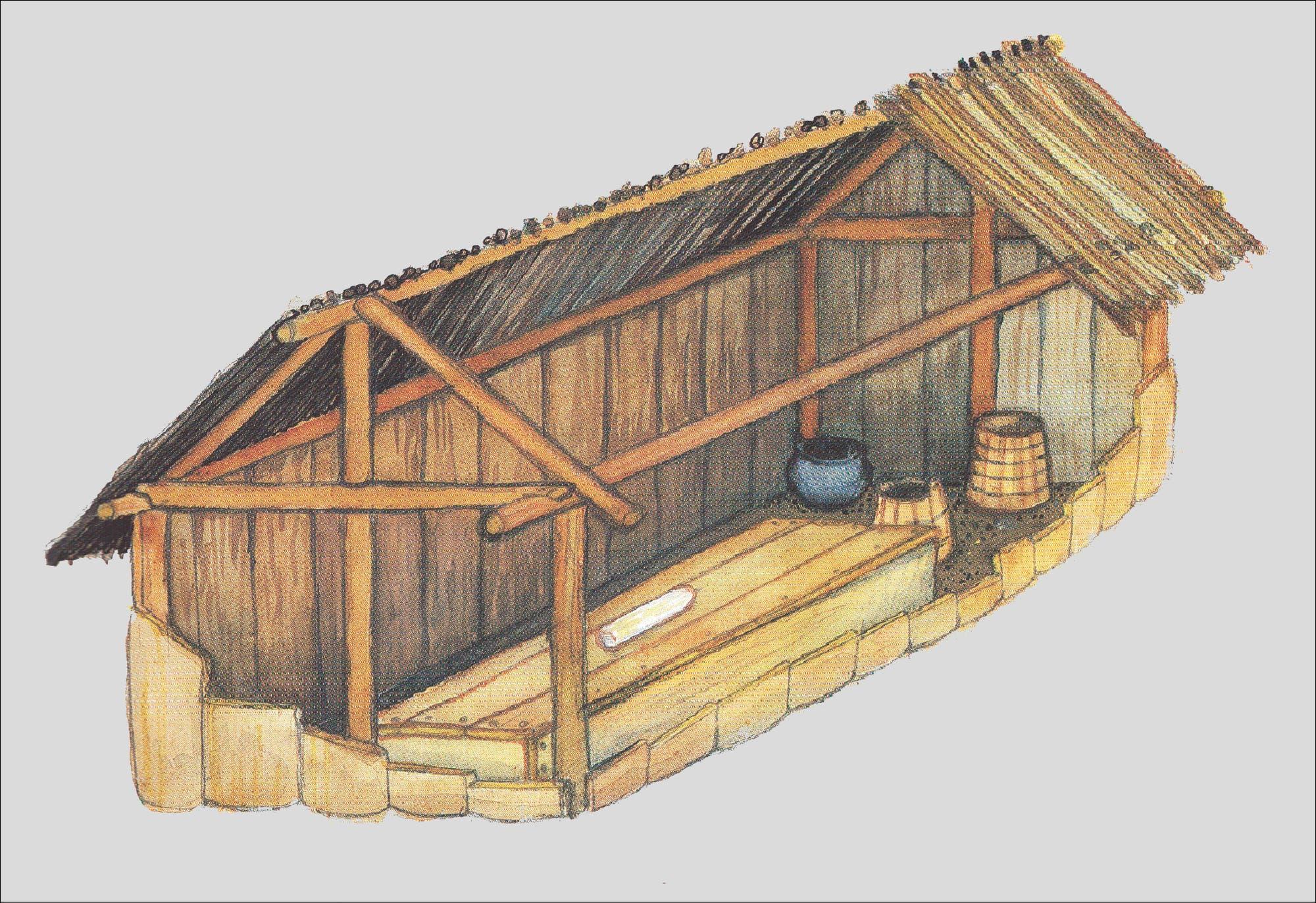 Die Grabkammer glich mit ihrem Giebeldach einem Haus