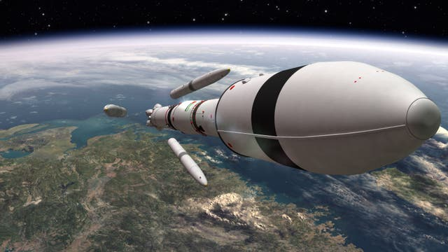 Die Computeranimation zeigt die in Japan entwickelte Trägerrakete vom Typ H2A, die die Sonde der VAE auf dem Weg zum Mars bringt.