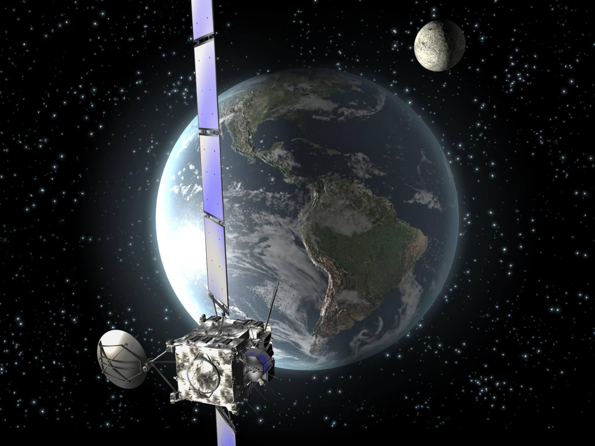 Rosetta beim Erdvorbeiflug