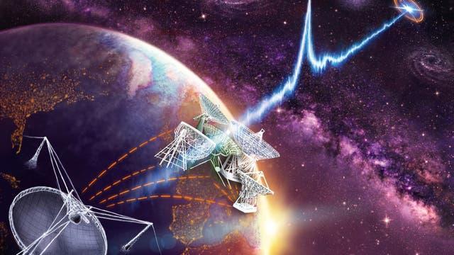 Bestimmung eines Radioblitzes mit Hilfe der Radioantennen des europäischen Very-Large-Baseline-Netzwerks, deren größte die 100-Meter-Antenne in Effelsberg bei Bonn ist, in Kombination mit dem 300-Meter-Radioteleskop bei Arecibo auf Puerto Rico.