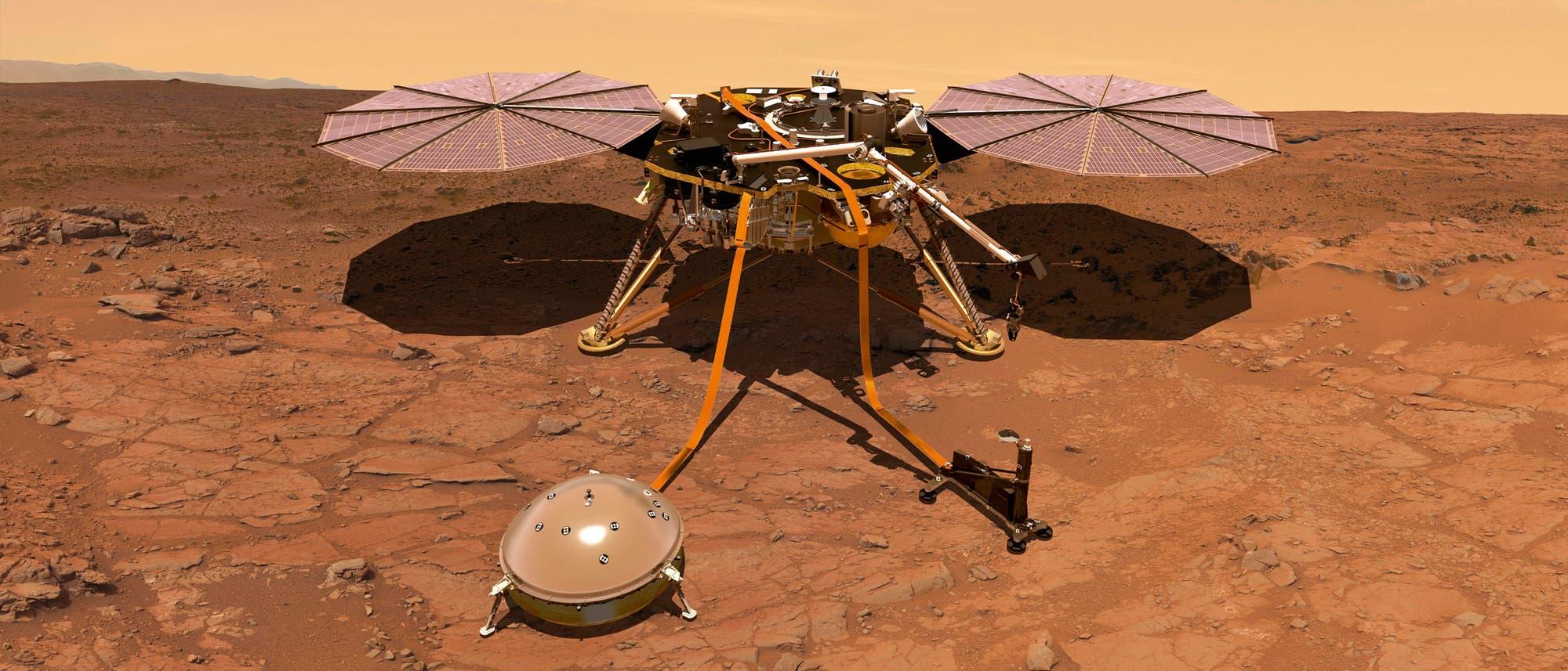 InSight auf Mars (Künstlerische Darstellung)