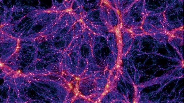 Ein Querschnitt durch das simulierte Volumen zeigt die Verteilung der Dunklen Materie im Universum (links). Eine Zoom-Technik erlaubt es, die Auflösung in einzelnen Bereichen der Simulation zu erhöhen. Im gezeigten Beispiel ist aus dem Bild links eine Galaxie von der Größe der Milchstraße ausgewählt und im Bild oben mit höherer Auflösung simuliert.