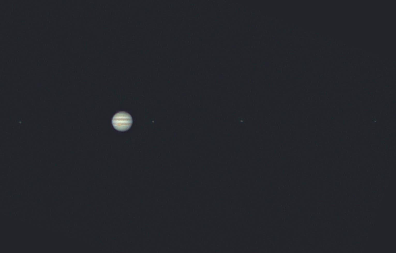 Anblick Jupiters und seiner Galileischen Monde im Teleskop