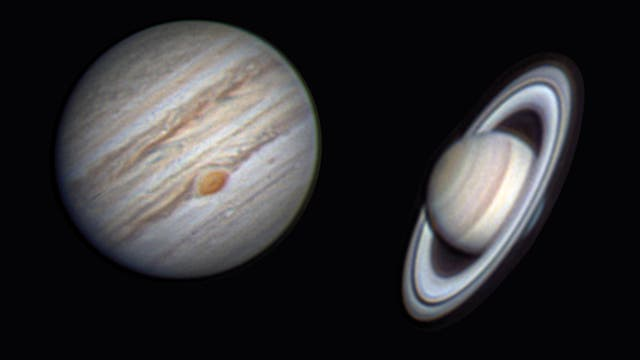 Jupiter und Saturn, Kollage von Alexander Müller