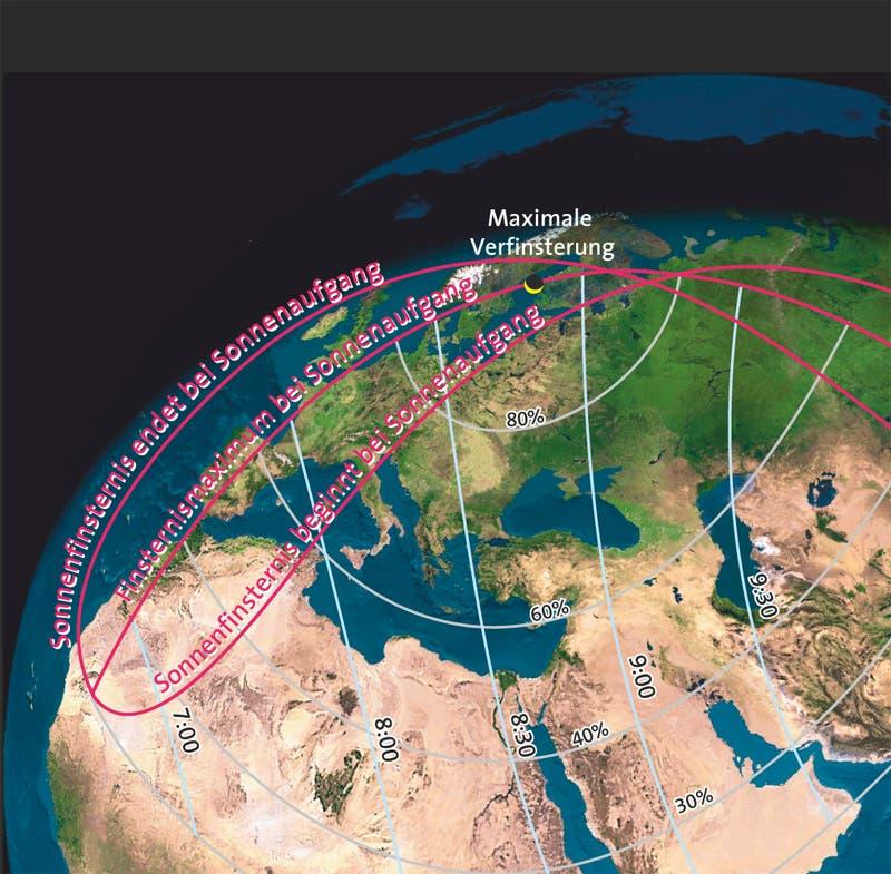Verlauf der partiellen Sonnenfinsternis vom 4. Januar 2011