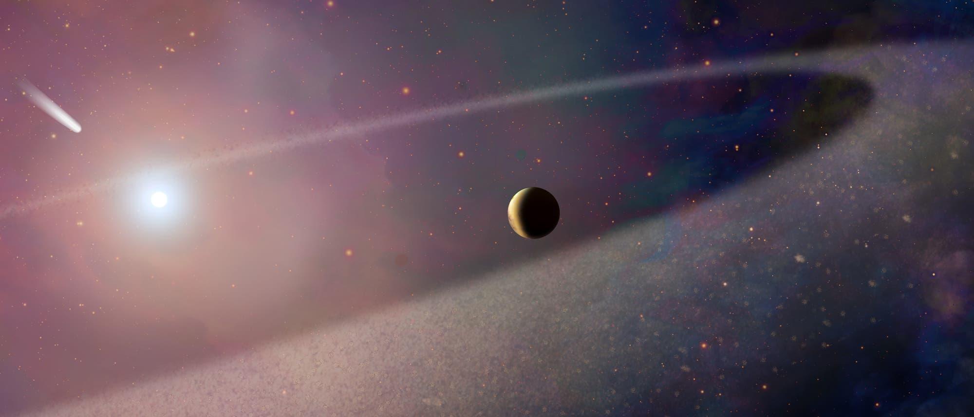 Komet nähert sich Weißem Zwerg (künstlerische Darstellung)