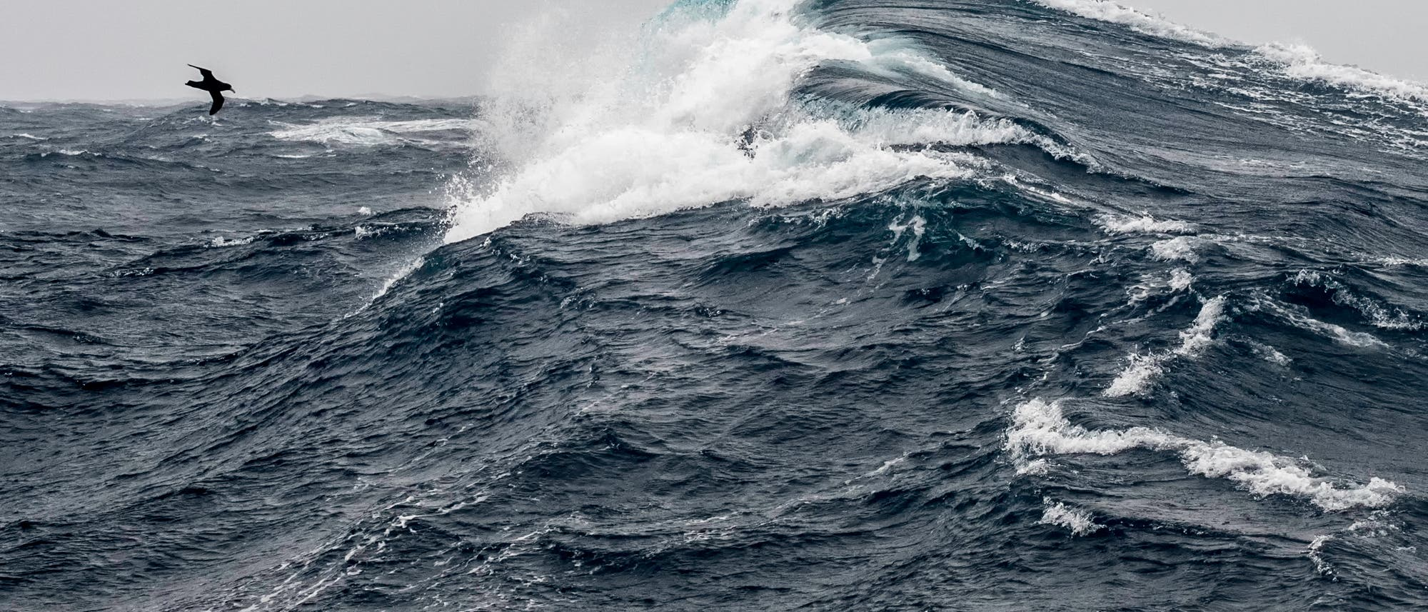 Sturm wühlt das Wasser im Südpolarmeer auf