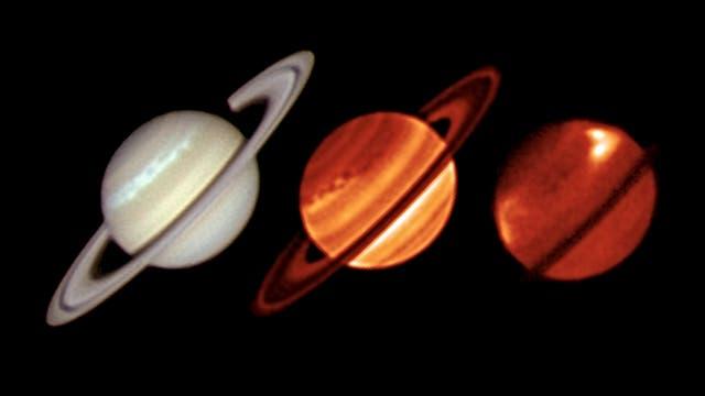 Der Sturm auf Saturn im sichtbaren und infraroten Licht
