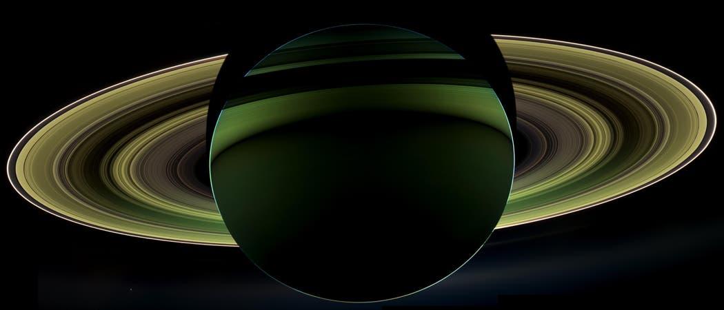 Aufnahme von Saturn in grünen Farben