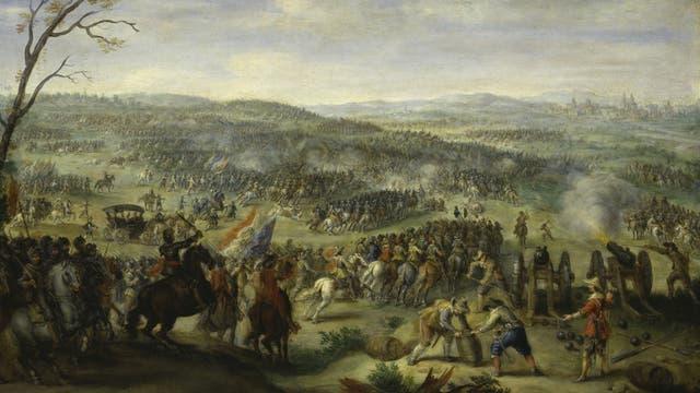 Zeitgenössisches Gemälder der Schlacht am Weißen Berg.