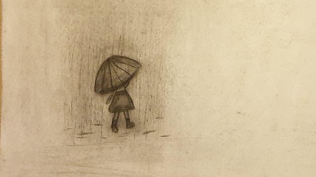 Zeichnung Mädchen mit Regenschirm