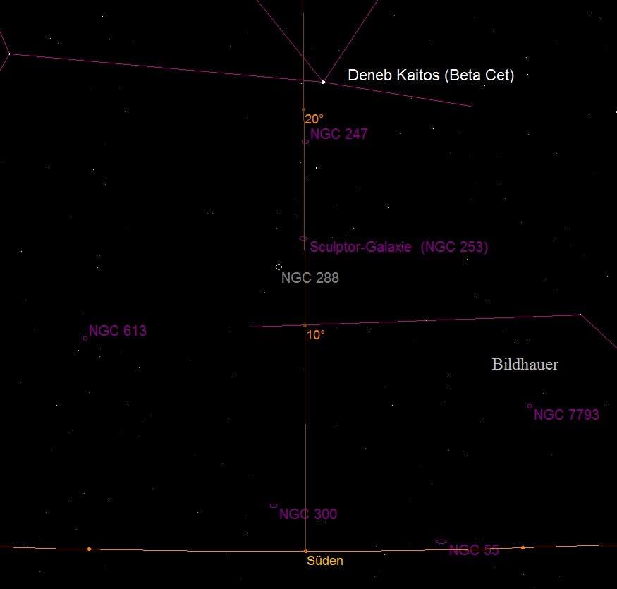 Aufsuchkarte für die Sculptor-Galaxie