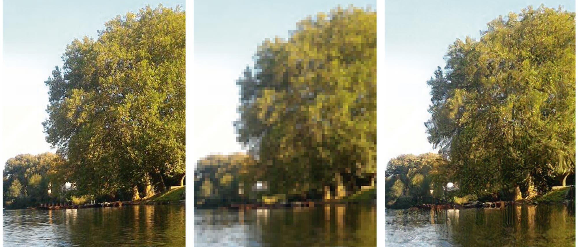 Aus einem Bild, das wegen viel zu geringer Pixelzahl (Mitte) das Original (links) nur mangelhaft wiedergibt, errechnet ein neuronales Netz Rekonstruktionen (rechts), die dem Original nahekommen.