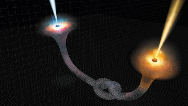 Schwarze Löcher könnten auf überraschende Weise verbunden sein, hier illustriert durch einen Knoten in der Struktur von Raum und Zeit.