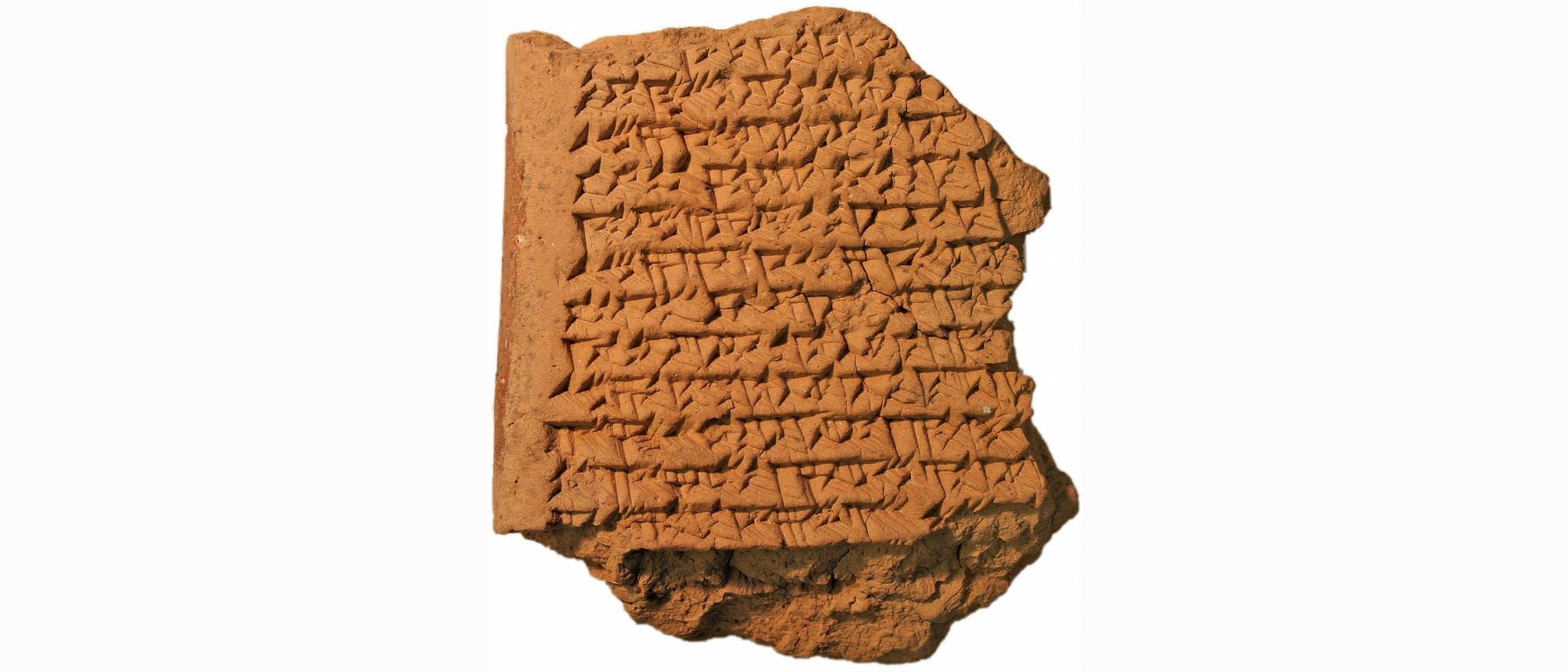 Babylonische Tontafel mit Berechnung des von Jupiter zurückgelegten Weges als Fläche einer Trapezfigur.