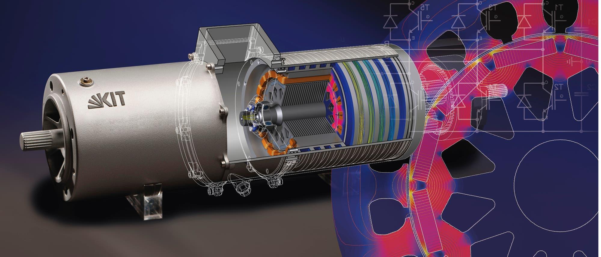 Um Elektroantriebe zu verbessern, simulieren die Konstrukteure im Computer detailliert, wie sich die Magnetfelder, die elektronischen Schaltungen und die Materialien verhalten.
