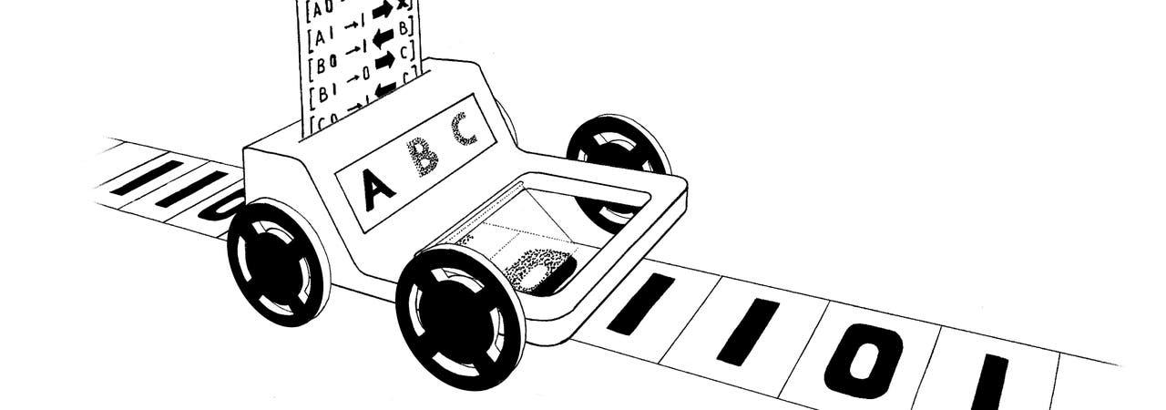 Eine Turing-Maschine tut nichts weiter, als das unter ihrem Schreib-Lese-Kopf befindliche Zeichen von einem unendlich langen Magnetband zu lesen und daraufhin den Befehl aus der Liste auszuführen, der zu dem gelesenen Zeichen und ihrem inneren Zustand gehört.