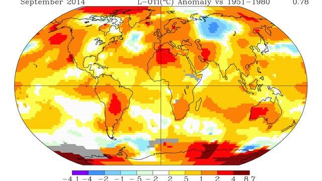 Temperaturabweichungen vom langjährigen Mittel im September