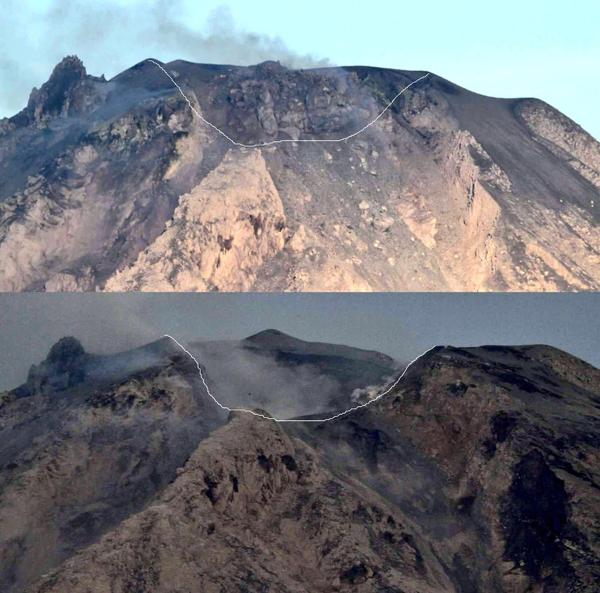 Zwei Fotos des Sinabung vor und nach der Eruption vom 19.2.2018. Die eingezeichnete Linie zeigt den Kraterrand nach der Explosion.