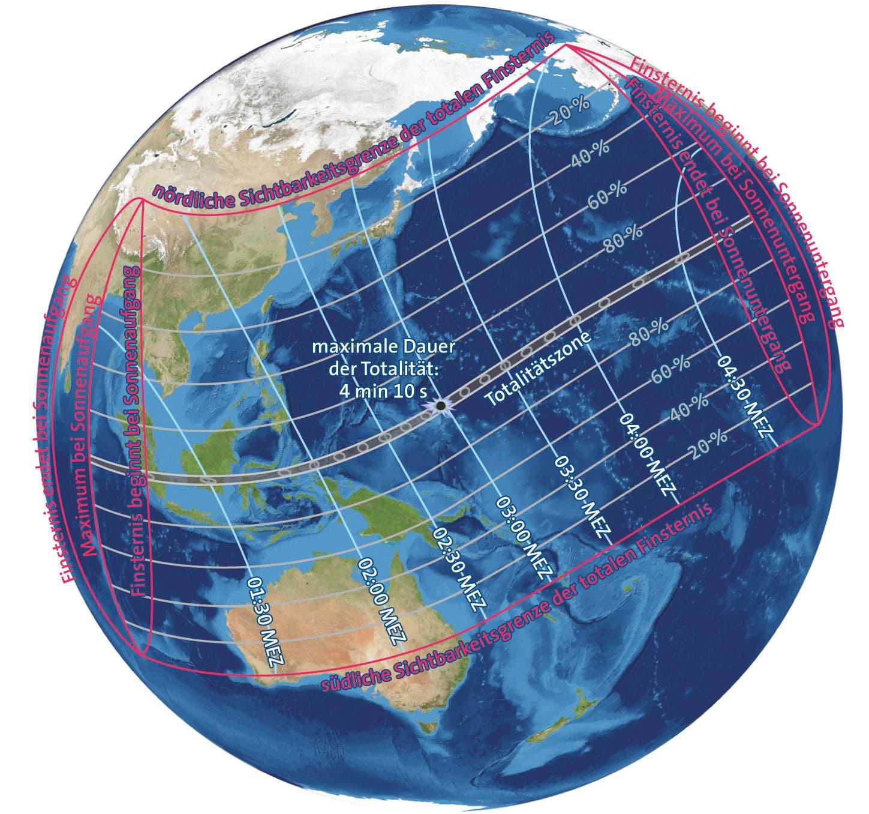 Die Sonnenfinsternis vom 9. März 2016 (Übersichtskarte)