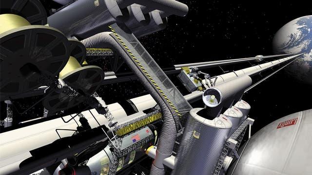 Künstlerische Darstellung eines Weltraumlifts.