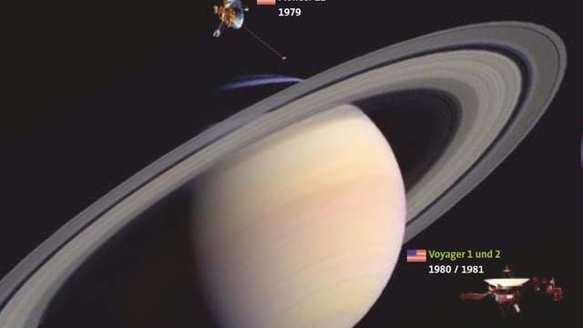 In den 1970er Jahren drangen erstmals Raumsonden in das Reich der Gasriesen und ihrer Monde und Ringe vor. Voyager 2 gelang es wegen einer besonderen Stellung der äußeren Planeten zueinander, alle vier Gasplaneten zu besuchen und sie erstmals im Detail zu erkunden. Und sie ist noch aktiv.