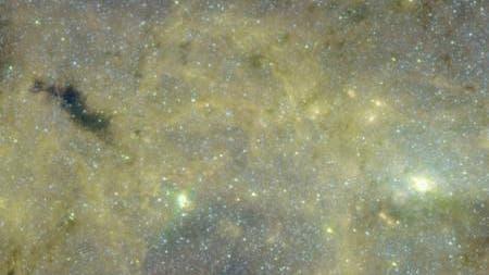 Infrarotaufnahme der Dunkelwolke G0.253+0.016 in der Nähe des galaktischen Zentrums