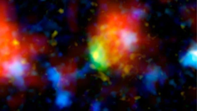 """Eine weit entfernte """"Starburst-Galaxie"""" im Sternbild Sextant"""