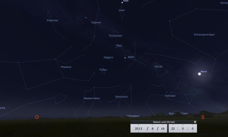Himmelsansicht am 16.8.2013 in Richtung Südosten