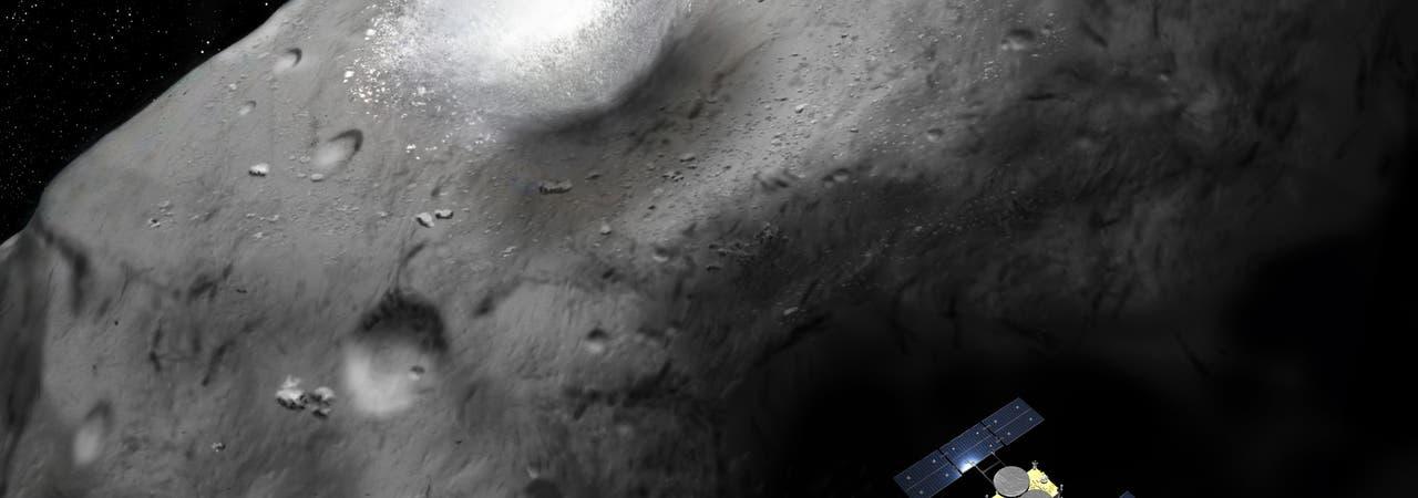 Asteroid Ryugu und Raumsonde Hayabusa-2 (künstlerische Darstellung)