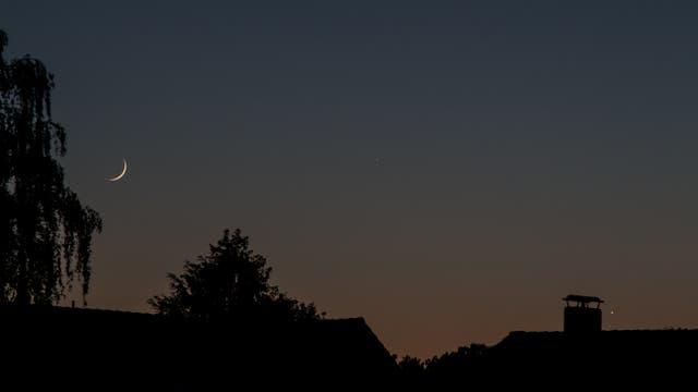 Mondsichel, Merkur und Venus