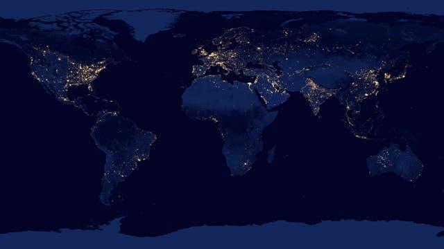 Weltkarte der Lichtverschmutzung