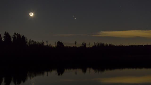 Große Konjunktion mit Mond, Jupiter und Saturn
