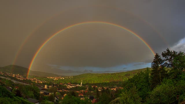 Doppelter Regenbogen über Freital