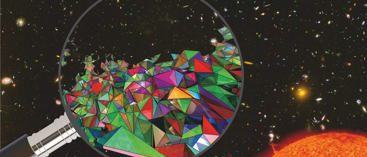 NASA / ESA / STScI, S. Beckwith und das HUDF-Team; Sonne: SOHO; Quantenschaum: MPI für Gravitationsphysik; Bearbeitung: SuW-Grafik