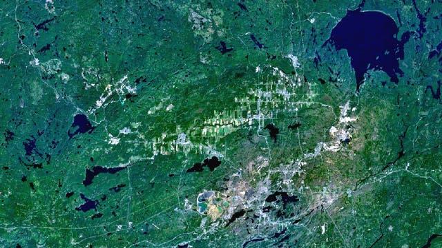 Das Sudbury-Becken aus dem All: Es ist der zweitgrößte Einschlagkrater der Erde