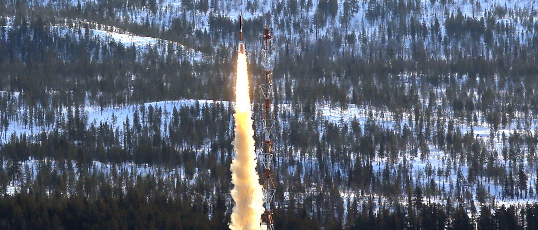 Start einer Texus-Rakete in Schwedisch-Lappland