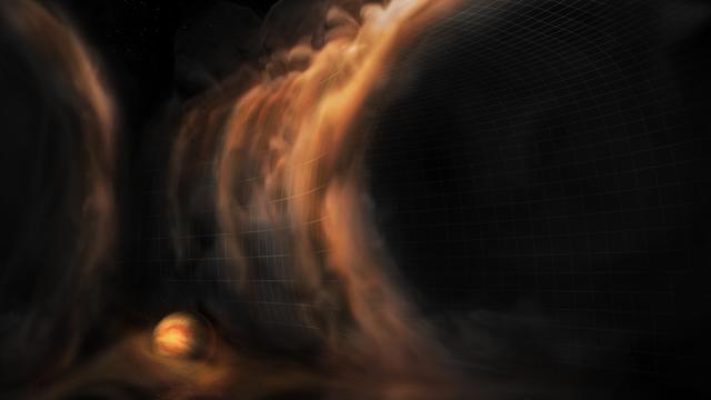 Ein junger Planet schluckt Gas. Das Bild ist eine Illustration.