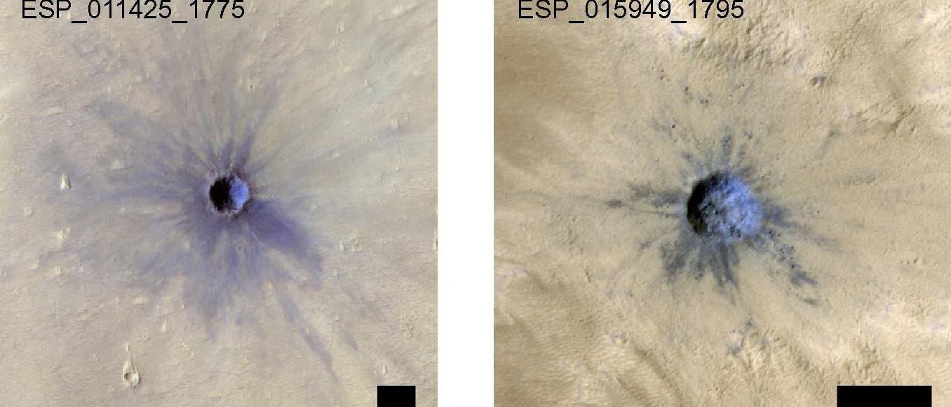 Junge Einschlagkrater auf dem Mars