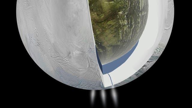 Ein Ozean unter dem Südpol von Enceladus (künstlerische Darstellung)