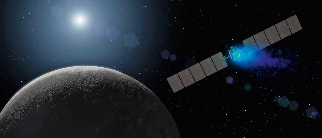 Raumsonde Dawn in der Umlaufbahn des Zwergplaneten Ceres