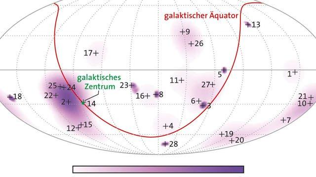 Die wahrscheinlichsten Herkunftsorte der mit dem Detektor IceCube registrierten 28 hochenergetischen Neutrinos