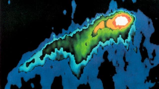 Der erste künstliche Komet, erzeugt mit dem Satelliten AMPTE