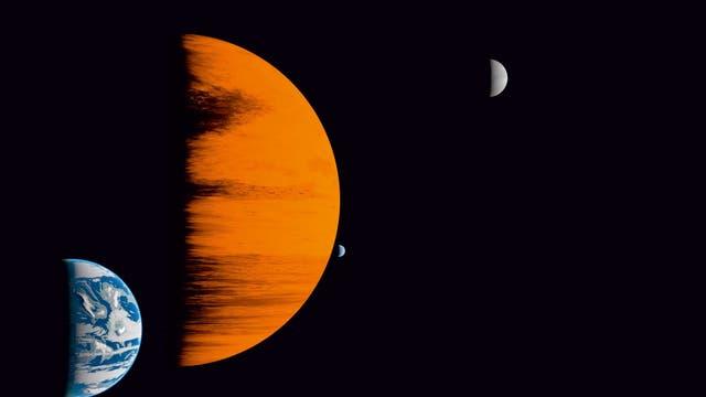 Exoplanet mit drei Exomonden, künstlerische Darstellung