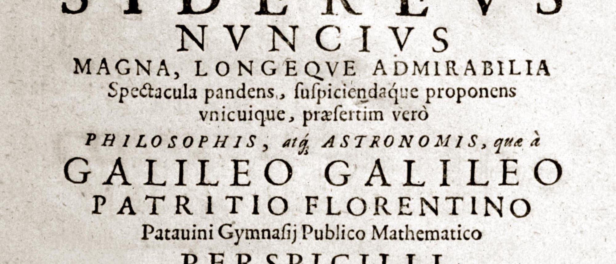 "Titelblatt des ""Oklahoma-Exemplars"" des Sidereus Nuncius"