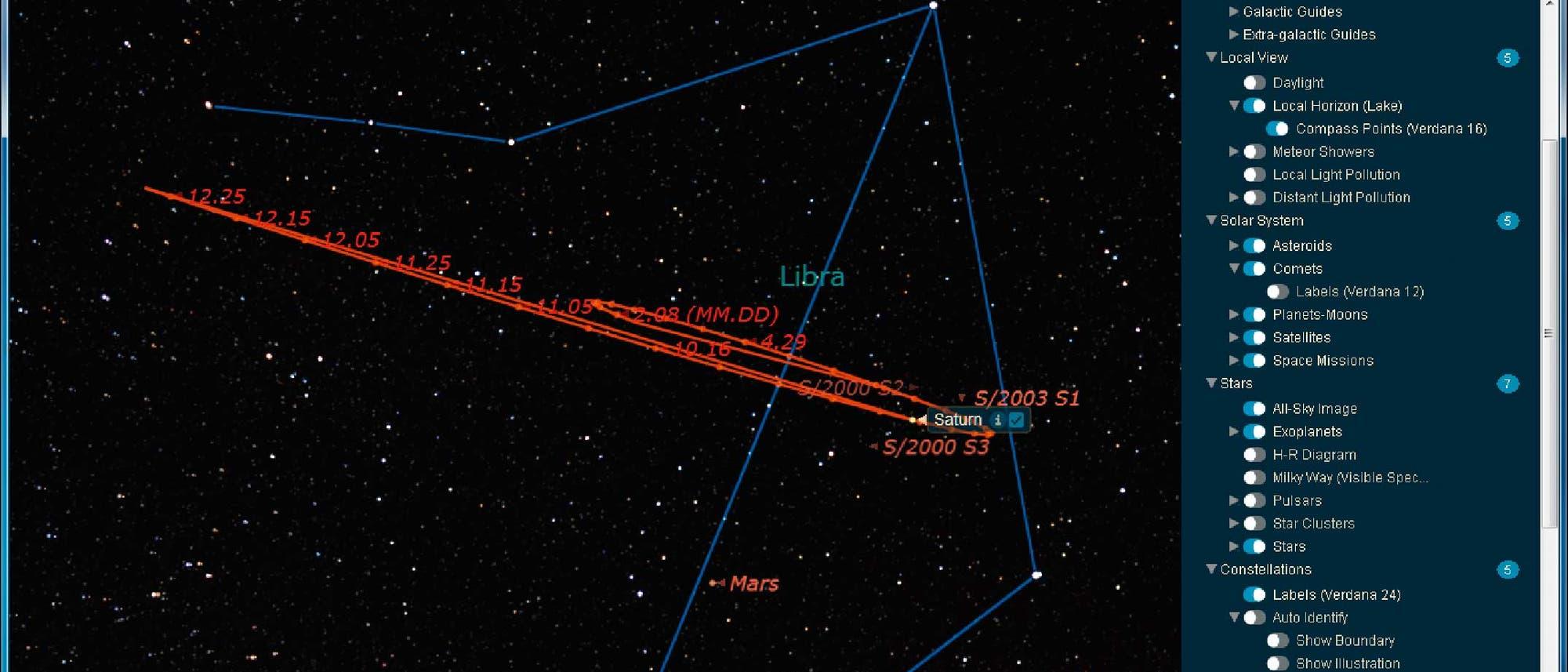 Bahn des Saturn mit der Oppositionsschleife