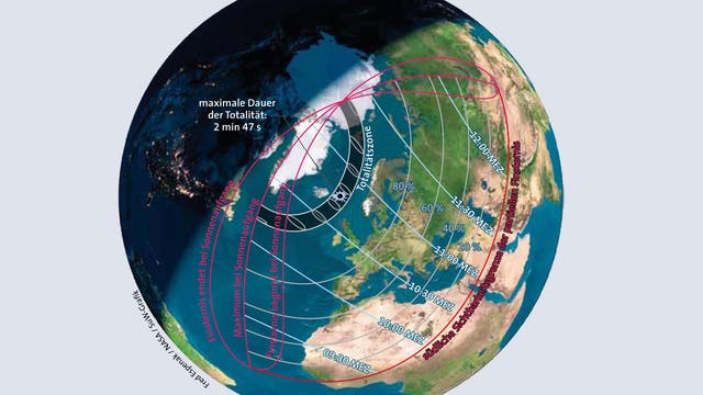 Verlauf der totalen Sonnenfinsternis 2015